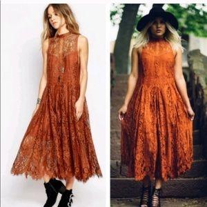 Free People Angel Rays Lace Midi Dress